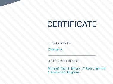 Certificate of Microsoft Digital Literacy