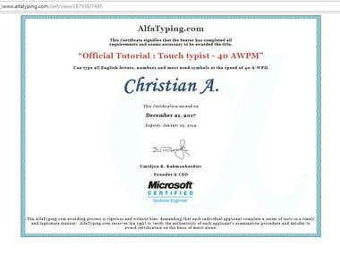 Touch Typing Certificate