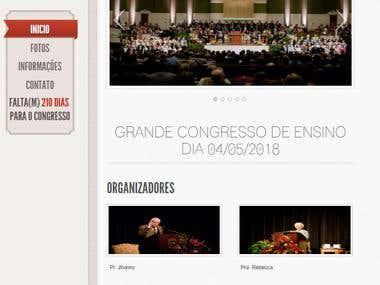 Site (exemplo) de página para divulgação de congresso