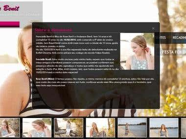 Site (exemplo) de página para divulgação de festa debutante