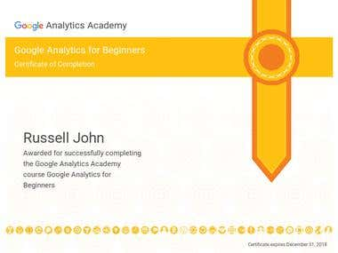 Certificate of Completion - Google Analytics for Beginners