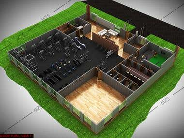 3D FLOOR PLAN OF COMMERCIAL FITNESS CENTER @ UNITED STATES