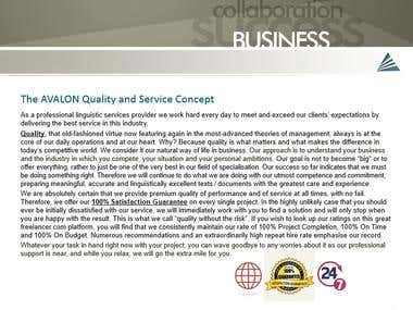 AVALON Quality and Service Concept