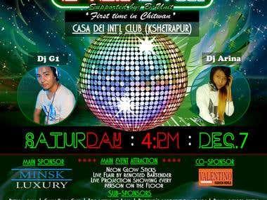 Neon Dance party (flyer/ticket)