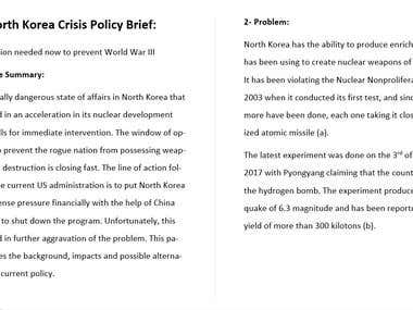 Policy Brief on North Korea Crisis