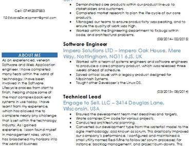 CV/Cover letter/Resume writing