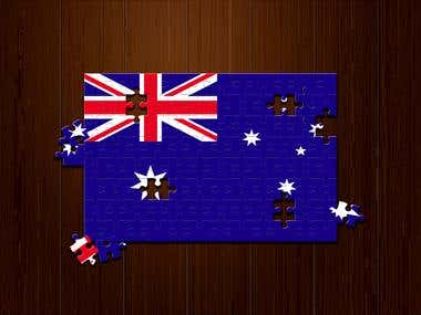 Puzzle action using Photoshop with Australian flag