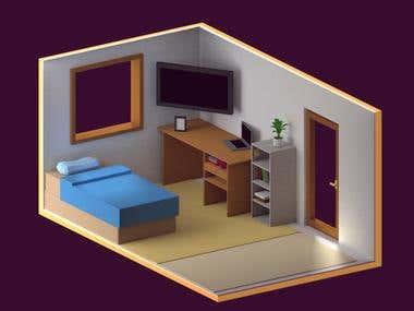 Isometric Low Poly Room