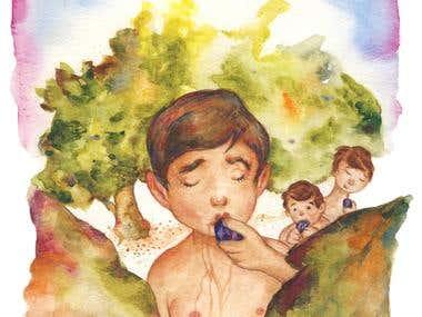 Boy eats figs