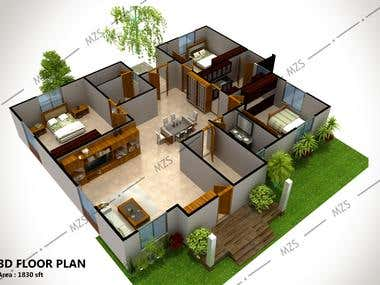 3d Floor Plan at USA