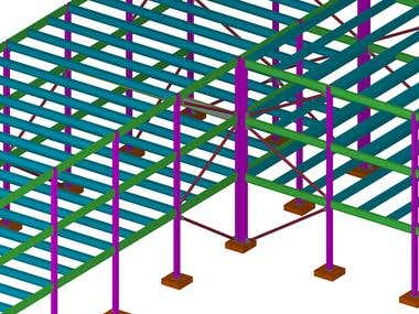 Tekla modeling for steel structure Office