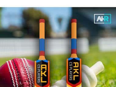 Cricket bat sticker design