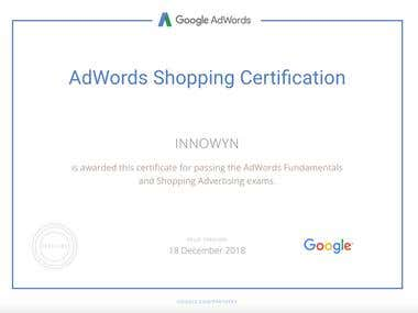 Google Ad words Shopping Certificate