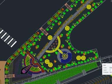 Landscape design by using AutoCAD