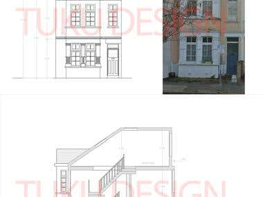 CAD PLANS FOR RESTORING A HOUSE IN LONDON