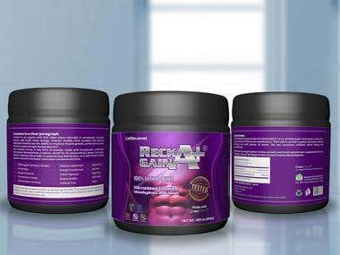 Food Supplement bottle label design and 3d model