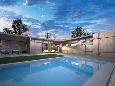 Luxury modern a big house with L shape and swim pool.