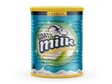 Goat's Milk powder metallic can label