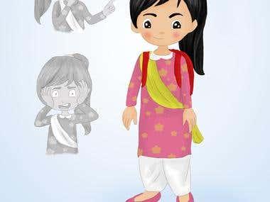 character design of school girl