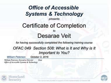 508 compliance training certified