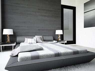 Modern and clean design of beautiful light bedroom