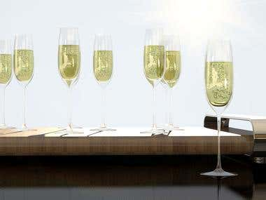 Luxury glasses with champagne for cheers.