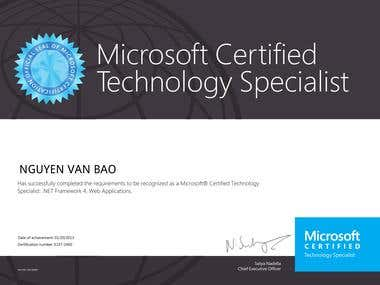 MCP Certificate Of Web Application with Microsoft .NET Frame