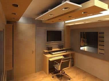 diseño interior de estudio de grabacion