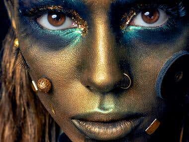 Retouching Gold woman 2