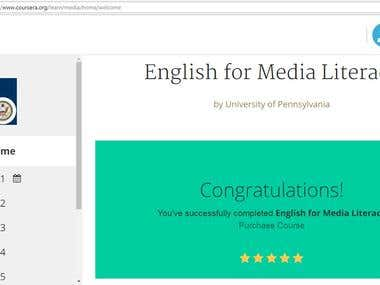 Accomplishment of the Course of English for Media Literacy