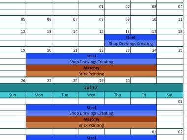 Gant Chart and Calendar