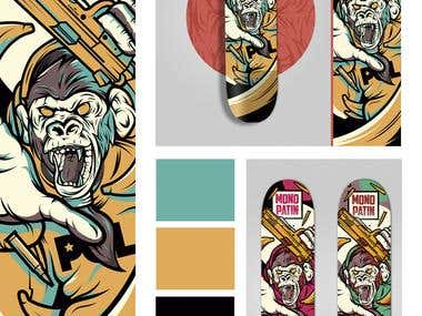 MONO PATIN / MONKEY DECK SKATE ILLUSTRATION