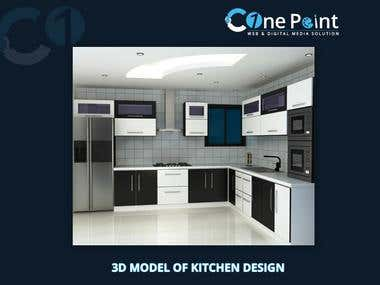 3D Model Of Kitchen Interior Design in Day night Views Desig