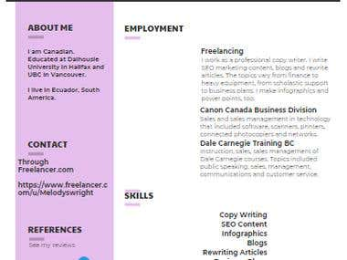 Sample CV / Resume - Example Infographic