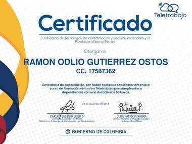 Certificación otorgada por el Ministerio de la Tecnología