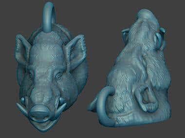 boar pendant 3d model