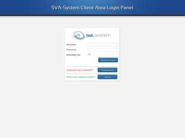 Secure Client area for file sharing.