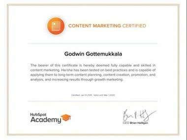 Hubspot Certified Content Marketer