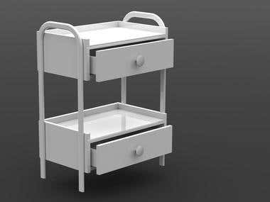Hospital bed night stand