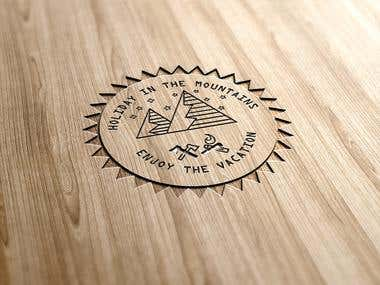 A classic wood engraved logo