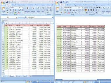 Copy Past Task From Word to Excel