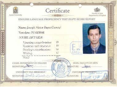 English Level Proficiency Test (ELPT)