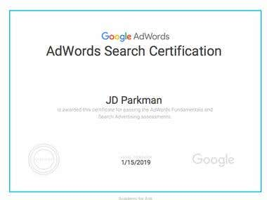 Google Adwords Search Certification 2018