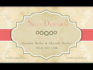 Business card for Sweet Delicates (bakery)
