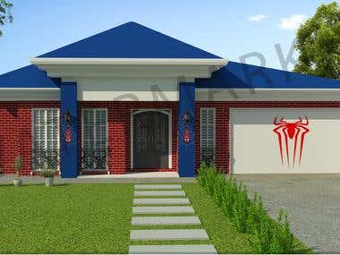 Spider men theme house interior and exterior model
