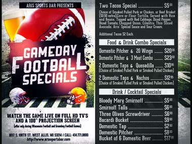 Gameday specials menu