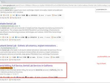 Dental lab California ( Top 10 rank in Google.com )