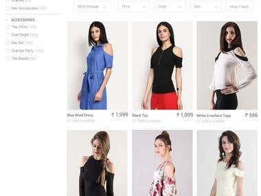 Search page for Fashion Website
