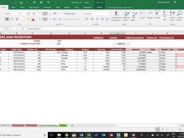 Inventory Management using Microsoft Excel