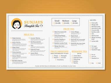 SunJay takeout menu